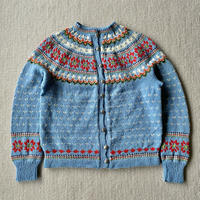 Made in Norway 70s light blue knit cardigan