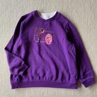 Purple color birds embroidered sweatshirt