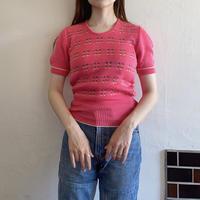 Pink color short sleeve knit