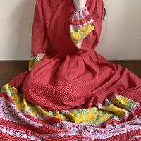 70s red dots long dress