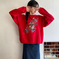 Flower and birds red sweatshirt