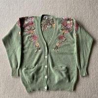 Angora mix embroidery cardigan