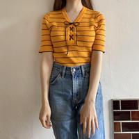 Lace up orange summer knit