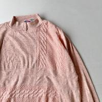 Salmon pink cable mix sweatshirt