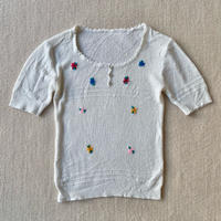 Flower embroidery summer knit