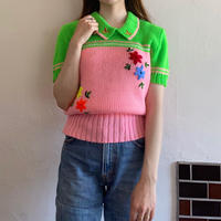 70s neon color short sleeve knit