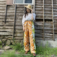 Handmade pants with 70s fabric (Orange×Green)