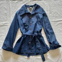 Big collar waist tie denim jacket