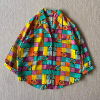 Super colorful open collar shirt