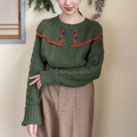 【SALE】70s Green flower embroidery cardigan