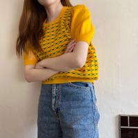 Chain pattern yellow summer knit
