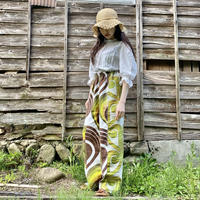 Handmade pants with 70s fabric (Green balloon)