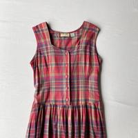 Gingham check apron dress