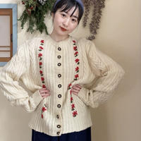 【SALE】[リール掲載]70s Flower embroidery cable knitcardigan