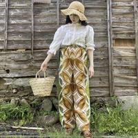Handmade pants with 70s fabric (Ocher×Green)