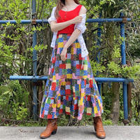 Patchwork pattern 70s tiered skirt
