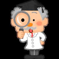 """""""博士のキャラクターと虫眼鏡""""高解像度版 / scientist character with magnifying glass"""