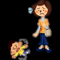 駄々をこねる男の子と困るお母さん 高解像度版 / Little boy throwing tantrum and annoyed mother