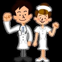 """""""ガッツポーズをする医者と看護師""""高解像度版 / doctor and nurse smiling happily"""