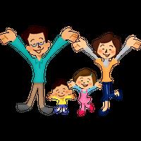 万歳して喜ぶ家族 高解像度版 / Very happy family rasing hands
