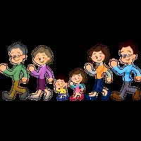 """""""歩く家族(三世代)""""高解像度版 / three generation family walking"""