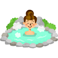 温泉に入る女性 高解像度版 / woman-in-hot-spring