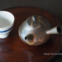 Pear-shaped, Fire lines Small Japanese Kyusu Teapot, Yokei Mizuno, Tokoname