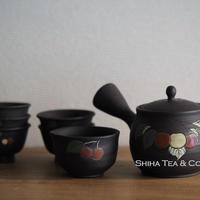 玉光茶具套急須 Gyoko  Small Sencha Black Cherry Teapot Tea cup set Kyusu