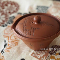 陶元本朱泥竹紋絞出宝瓶  TOGEN  Authentic Red Clay SHIBO  Shiboridashi Houhin