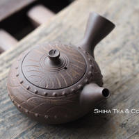 [T04] 陶寿仿木太鼓茶壺急須 TOJU Wood-like Drum Rivet Pottery Teapot Kyusu