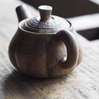 備前南瓜形茶壺急須 TAKASHI SAITO Bizen  Pumpkin Back Handle Kyusu Teapot