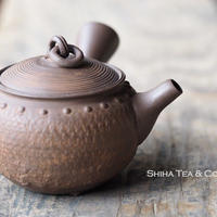 [T03] 陶寿仿木质茶壺急須 TOJU Wood-like Round Rivet Pottery Teapot KYUSU