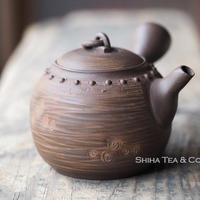 [T05] 陶寿鋲打仿鉄茶壺急須 TOJU Rivet Ceramic Tepaot Kyusu