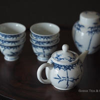 加藤清昌青花瓷茶壺茶杯急須 Kyoto Blue & White bamboo Kyoto Teapot Set(NOT include  Tea leaf canister) KYUSU