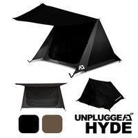 予約 7月予定 3RDロット ポールコンパクトジョイント式改良版  パップテント アンプラグドキャンプ HYDE ハイド 2色展開 ブラック 黒