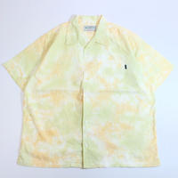 "A HOPE HEMP × JAVARA ""MARBLE"" 開襟シャツ(GREEN&ORANGE)"