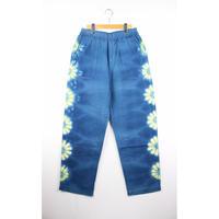 A HOPE HEMP × JAVARA「FLOWER LINE BAKER EASY PANTS(BLUE)」
