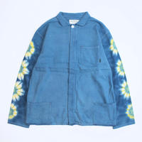 "A HOPE HEMP × JAVARA ""FLOWER LINE""  FLY FRONT SHIRTS JKT(BLUE)"