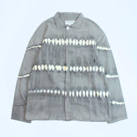 "A HOPE HEMP × JAVARA ""BORDER""  FLY FRONT SHIRTS JKT(GRAY)"