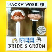 """2003年 ファンコ ミニ・ワッキーワブラー「花嫁&花婿」ペッツ Funko Wacky Wobbler Pez Set 5"""" Bride & Groom"""