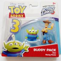2010年 トイストーリー3  バディパック シリーズ エイリアン/ウッディ TOY STORY Mattel Budy Pack  Alien / Waving Woody