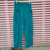Pima cotton ポケット付きワイドパンツ(エメラルドグリーン・いちごとあり柄) No. 365