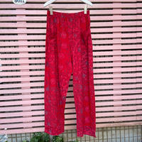 Pima cotton ポケット付きワイドパンツ(レッド・インドの小花柄) No. 362