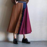 ブロックカラーフリルプリーツスカート