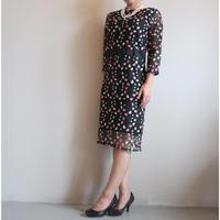 フラワー刺繍Iラインドレス