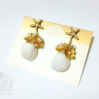 Go to the SEA! REAL SHELL 【Crystal×gold flower】イヤリング/ピアス