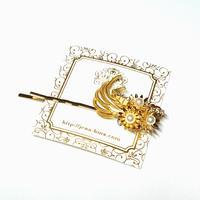 Gold flowers ヘアピン
