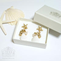 Go to the SEA! REAL SHELL 【Sand opal×gold Metallic】イヤリング/ピアス