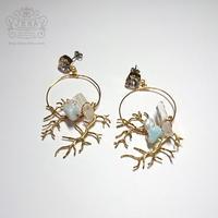 Coral branch Hoop 【hemimorphite×CRYSTAL】  イヤリング/ピアス