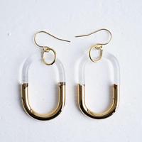 №30  BELLEZA Glass Jewelry ゴールドチェーンピアス